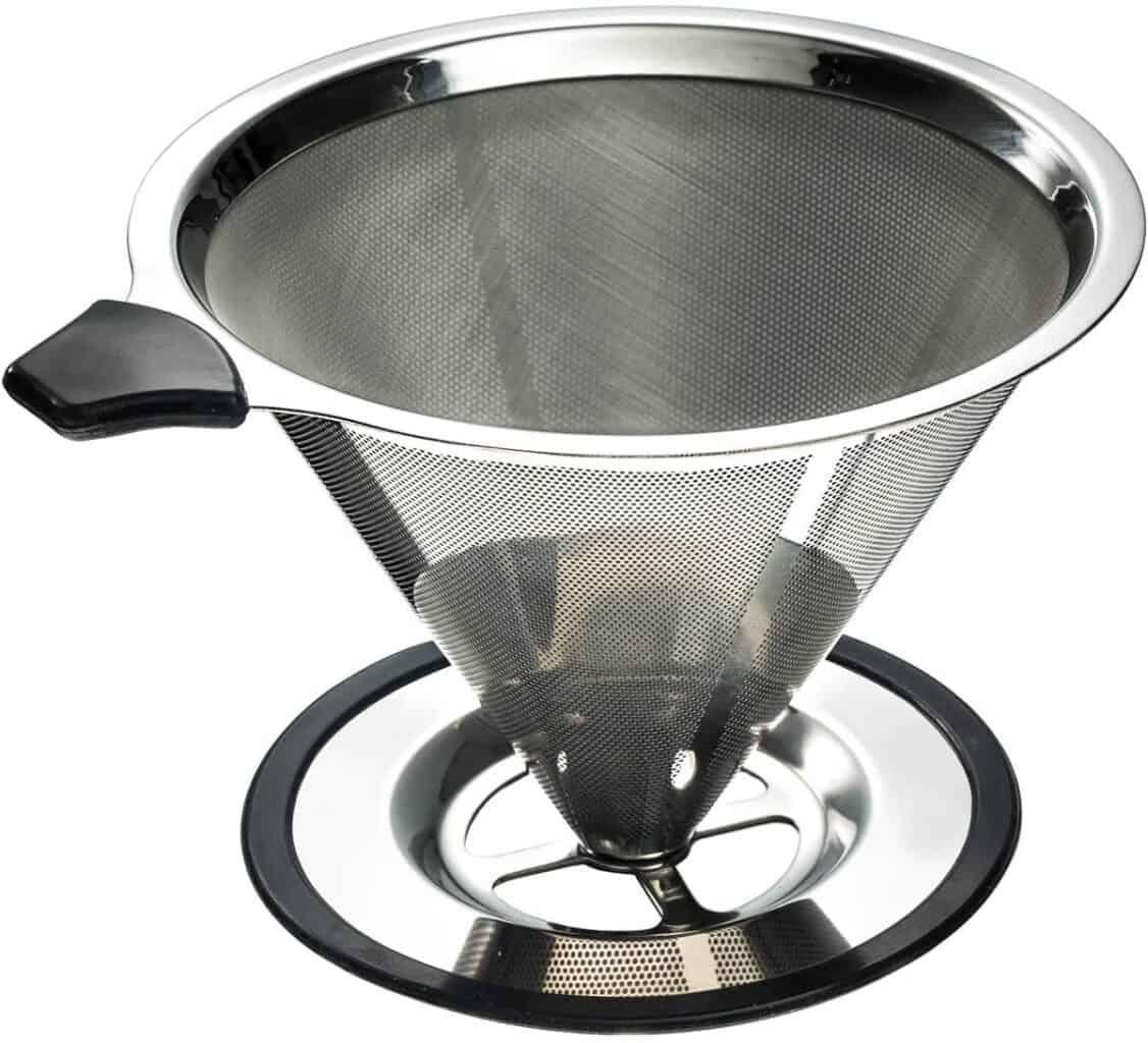 metal coffee filter being recused