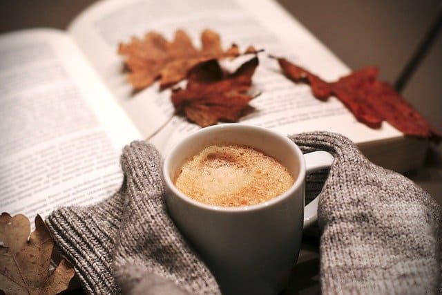 cup of coffee with a book