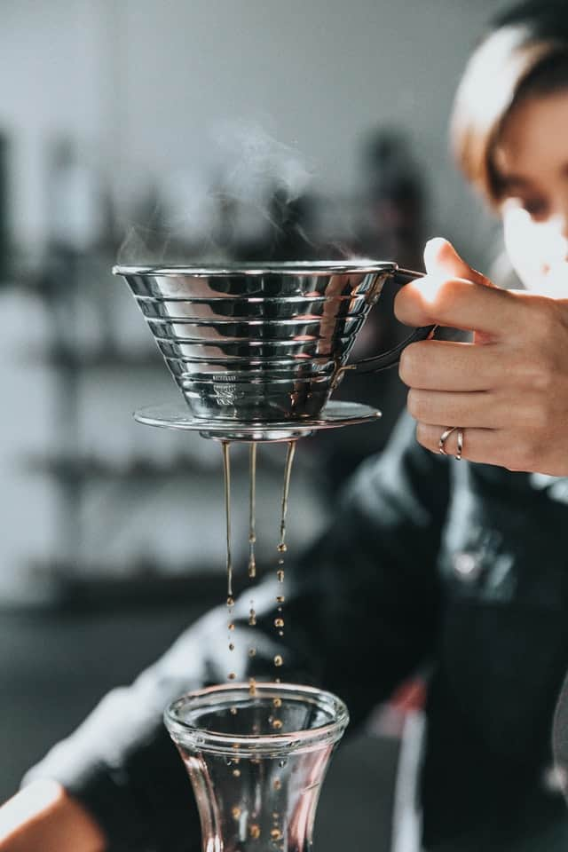 Pouring coffee in the morning